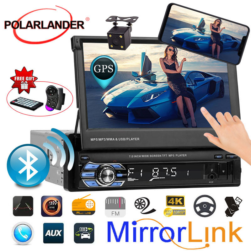 1 Din Mirror Link MP3 Car Stereo Radio Player GPS Bluetooth Touch Screen 12 Multi-language 7 Inch FM/USB/TF image