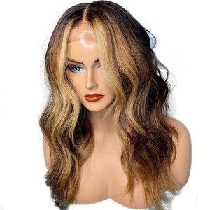 Eversilky peruca de cabelo humano frontal, 360 com renda frontal, ondulada natural, destaques, loira, base de seda, renda completa 13x6 marrom u