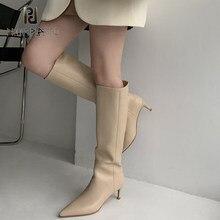 Prova perfetto outono inverno novo stiletto de salto alto dobre botas de tubo alto moda feminina deslizamento no joelho-salto alto sapatos finos