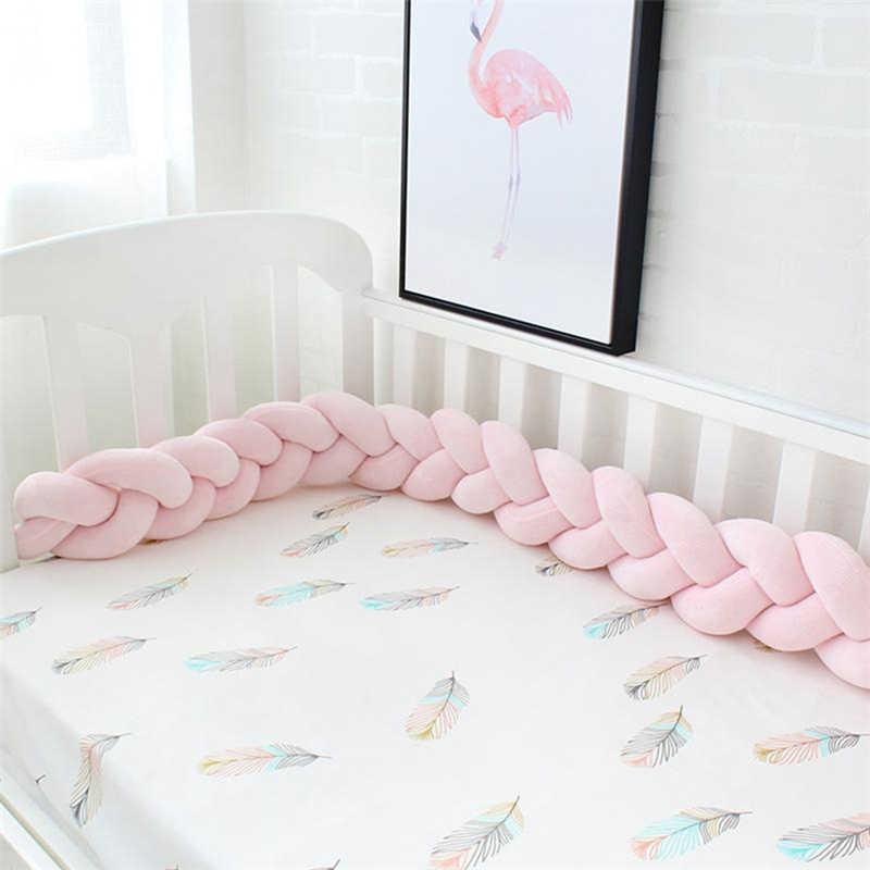 1-3M Bumper Bed Braid Knot หมอนสำหรับทารก Bebe Crib Knotted Braid ทอผ้า Protector cot กันชนตกแต่งห้อง