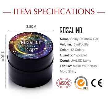 ROSALIND Manicure Set Gel Nail Polish Set 12PCS/LOT Rainbow Shiny Gel Glitter Acrylic Nail Kit Varnish All For Manicure Tools 6