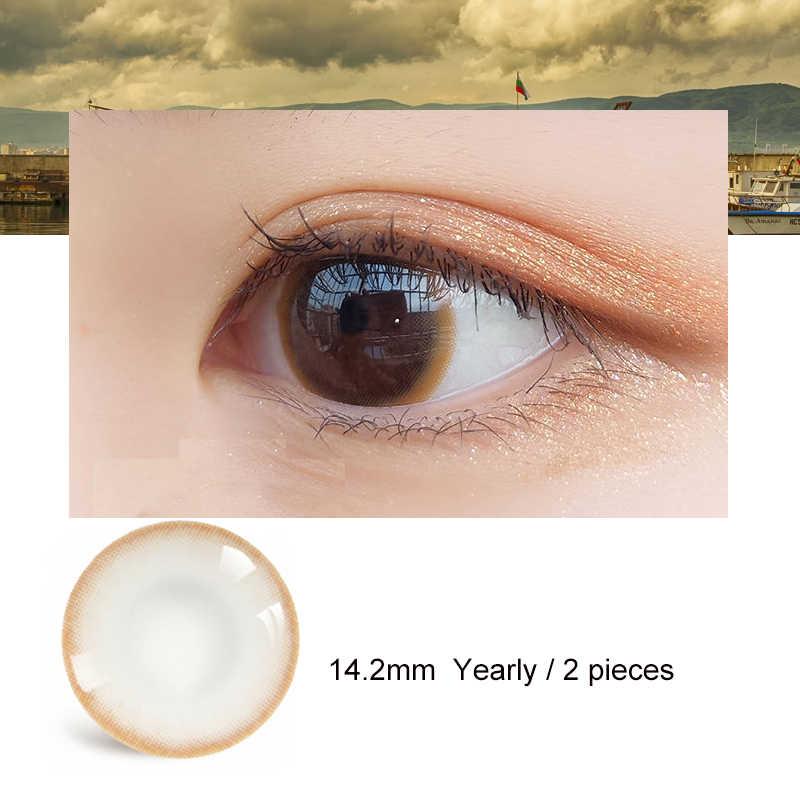 2XColored soczewki kontaktowe co roku miękkie kolorowe soczewki kontaktowe supernaturalne patrząc pod kolorowe kontakty makijaż oczu dla DIY dekoracje