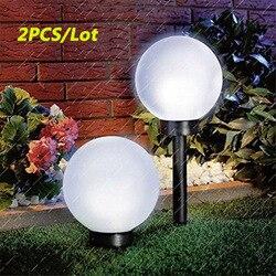 2 pçs/lote redondo led luz solar à prova dwaterproof água luz solar lâmpada de energia ao ar livre caminho quintal gramado bola luz para jardim pátio decoração