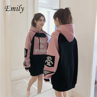 Autumn Winter Clothes Casual Fleece Loose Long Sleeve Patchwork Long Pullover Dropship Hooded Hoodies Women Sweatshirt Thick