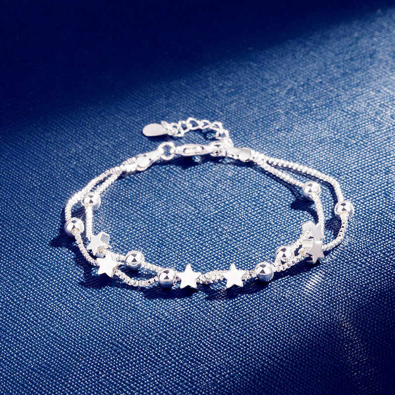DAIWUJAN 925 Sterling Silver Bracelets Double Layered Stars Beads Chian Bracelets & Bangles For Women Girls Wedding Jewelry