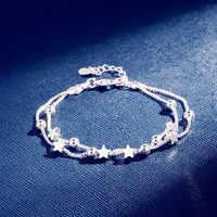 DAIWUJAN 925 Bracelets en argent Sterling Double couche étoiles perles chaîne Bracelets & Bracelets pour femmes filles bijoux de mariage