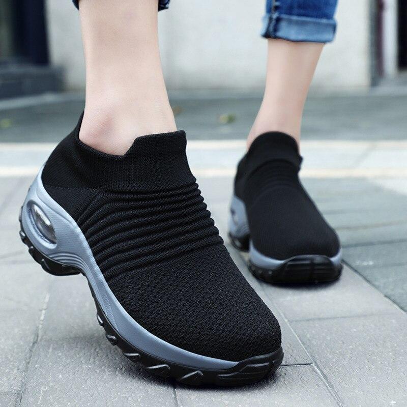 Fashion Woman Tenis Feminino Breathable Mesh Tennis Shoes Height-increasing Slip-on Female Sock Sneakers Thick Bottom Platforms 1
