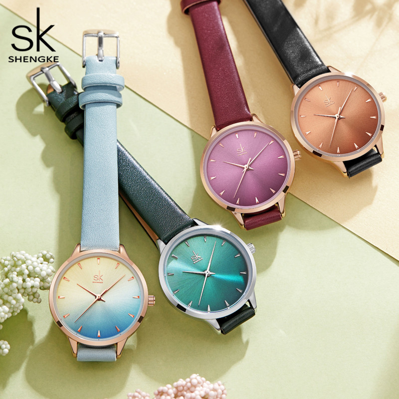 Shengke Women Watches Multi Color Lady Fashion Quartz Watch Simple PU Watchband Waterproof Wrist Watch Relogio Feminino