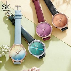 Shengke Women Watches Multi Color Lady Fashion Quartz Watch Simple PU Watchband Waterproof Wrist Watch Relogio Feminino