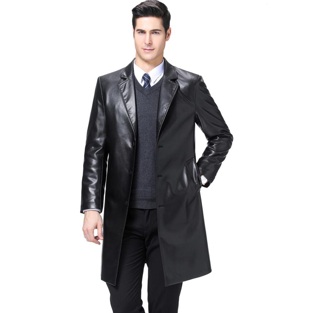 KUYOMENS Men's Trench Coat Faux Leather Long Jacket Casual Overcoat US SIZE XS-XL