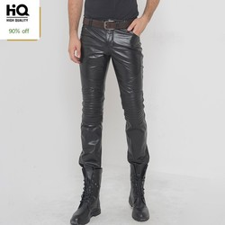 Men Classical Motorcycle Trouser Genuine Leather Korean Style Fashion Casual Slim Long Pants High Quality Pencil Pant Black Man