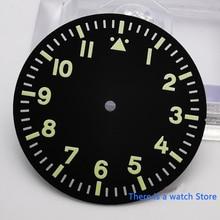 35.5mm Corgeut Green marks Black watch parts dial fit Miyota 8215 8205 ST1612 DG2813 movement