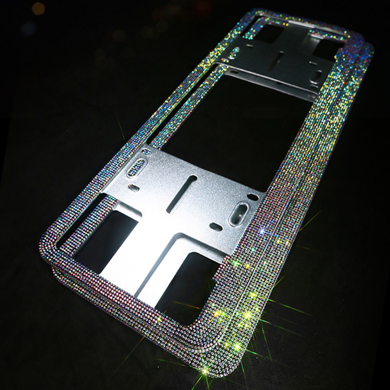 Crystal Diamond Car License Plate Frames Handmade Sparkly Bling Colorful Rhinestone Stainless Steel Metal Frames