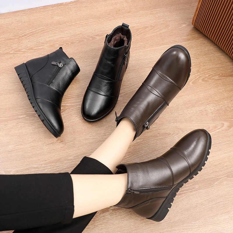MUYANG 2019 Mode Stiefeletten Frauen Aus Echtem Leder Wohnungen Stiefel Winter Schuhe Frau Warm Non-Slip Schwarz Braun Frauen stiefel