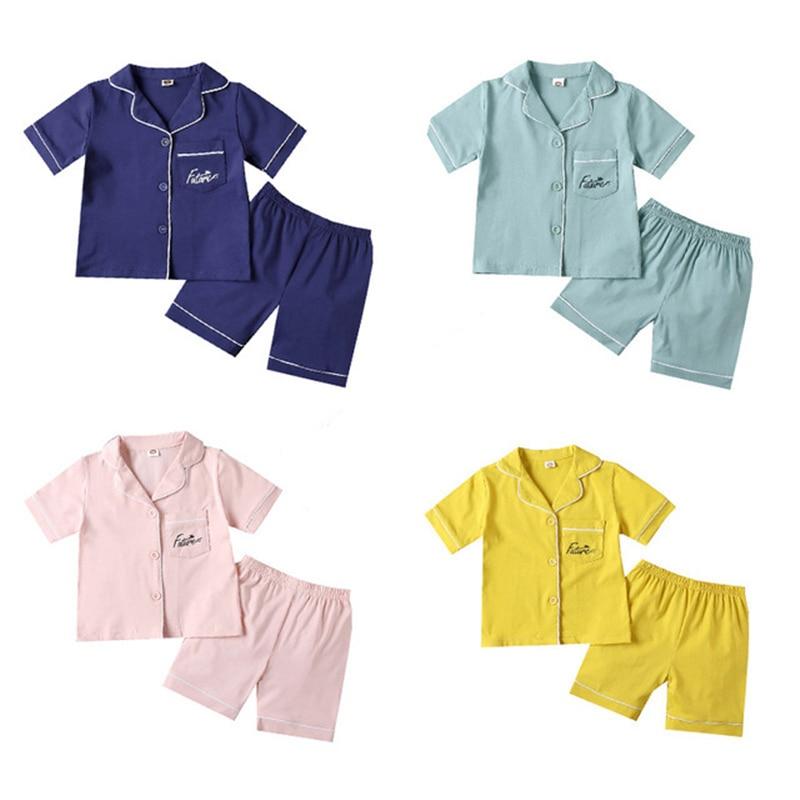 SAILEROAD 2021 Children Pajamas For Girls Cotton Short Pyjamas Kids Pijama Infantil Boys Sleepwear Child Home Wear Clothes Suits 1