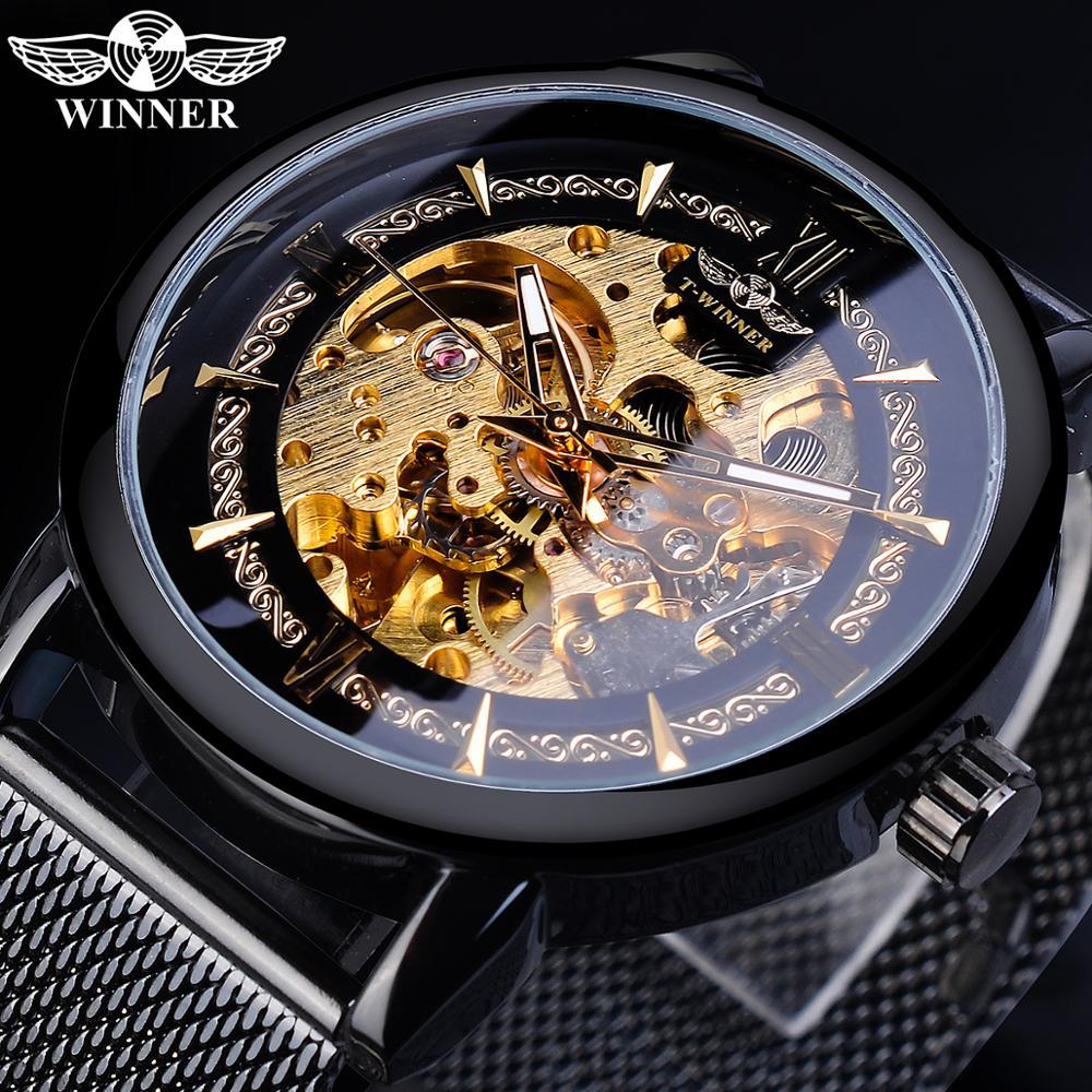 Winner Classic Men Mechanical Watch Skeleton Black Golden Slim Analog Mesh Steel Band Mens Casual Dress Wristwatch Clock For Man