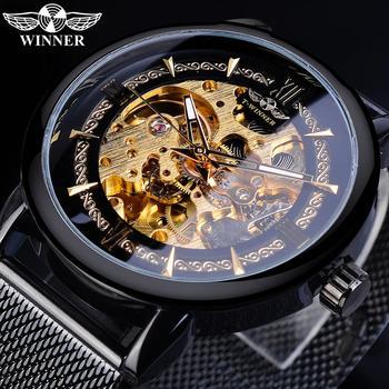 цена на Winner Classic Men Mechanical Watch Skeleton Black Golden Slim Analog Mesh Steel Band Mens Casual Dress Wristwatch Clock For Man