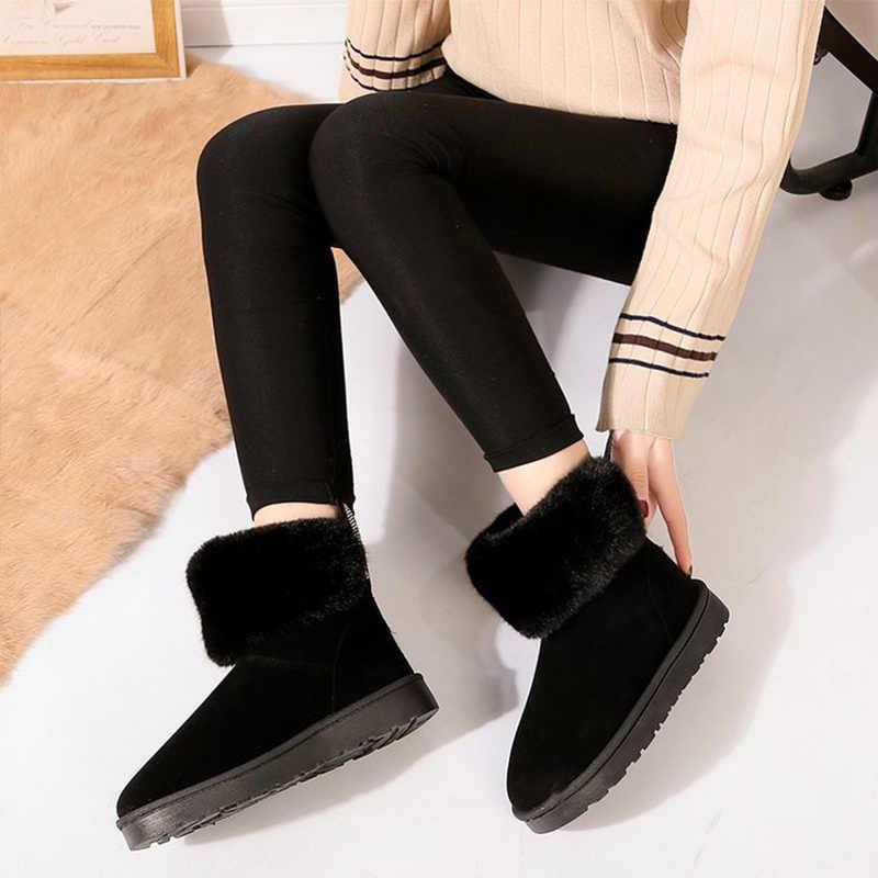 Kadın kış kar botları bayanlar zarif bileğe kadar bot tavşan kulaklar üzerinde kayma sıcak kürk peluş kadın düz platformu kadın kadın ayakkabısı
