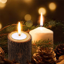 New Wooden Crafts Decoration Creative Wood Pile Candle Holder Home Flower Pot Handmade Ornaments Candlestick G