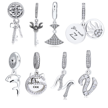 CKK Beads 100% 925 Sterling Silver Key Sun Cat Dress Letter M & V Charm for Jewelry Making Fit Bracelets free shipping