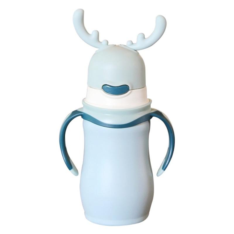 Termo de acero inoxidable para frasco de vacío de agua para té y café alce de Navidad con mango de acero inoxidable - 3