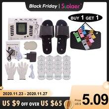 Russisch/Englisch Taste Elektrische Muscle Stimulator Abnehmen Massager Impuls Akupunktur Maschine + Hausschuhe + 16Pads + Handschuhe