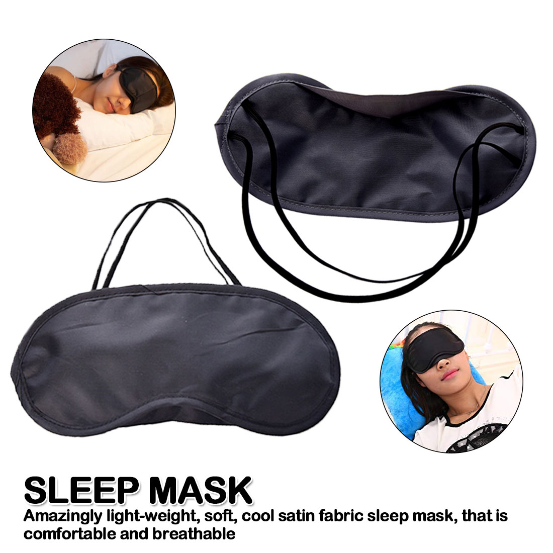 1pcs Pure Silk Sleep Eye Mask Padded Shade Cover Travel Relax Aid Non-woven Sleep eye mask
