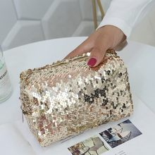 MOLAVE wallet Women's Outdoor Fashion Trend Short Solid Color zipper wristlet Sequin Pencil storage bag leather wallet 2020JAN8(China)