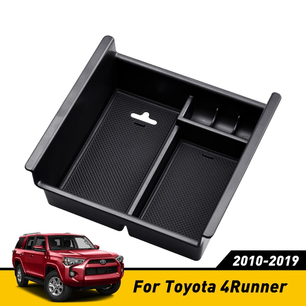 Car Black Armrest Storage Box For <font><b>Toyota</b></font> <font><b>4Runner</b></font> 2010 to <font><b>2018</b></font> 2019 Center Console Container Bin Tray Case Interior Accessories image