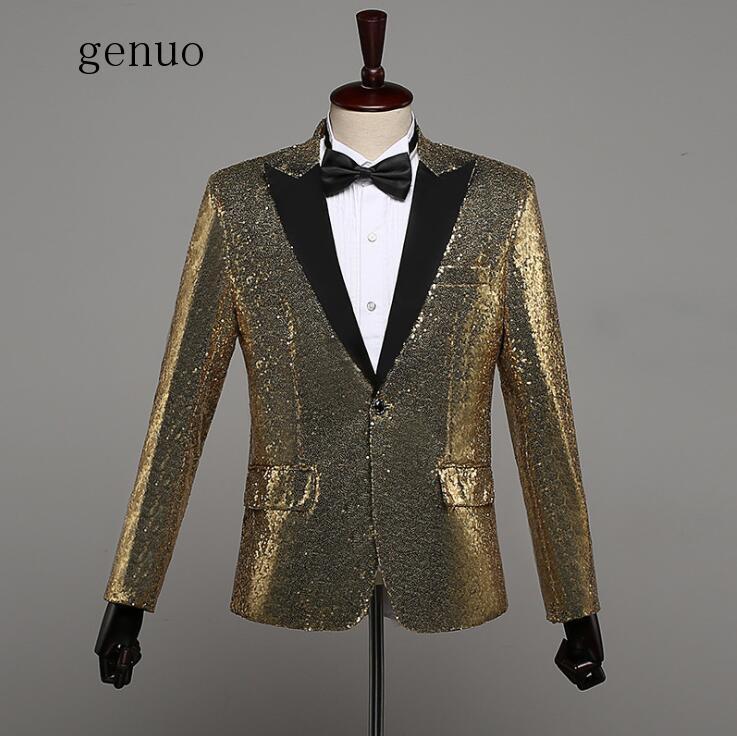 Genuo Silver Sequin Jacket Blazer Singer Dancer Show Male DS Dance Costumes Outerwear Coat DJ Nightclub Performance Stage