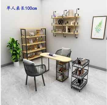 Marble simple single double nail art desk and chair set wooden Japanese nail art table solid wood nail art table