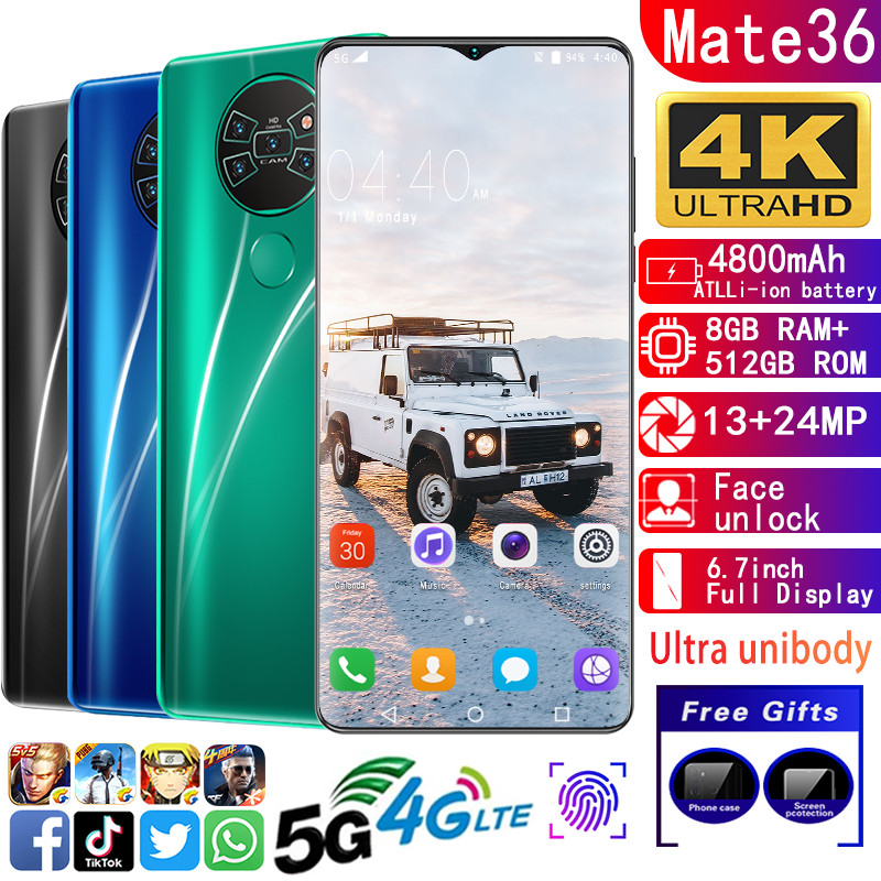 Smartphone Mate36 Cell Phones MTK6799 Cellphone Deca Core Phones 6.7inchHD  5G Mobile Phone 8GB+512GB Phone 13MP+24MP