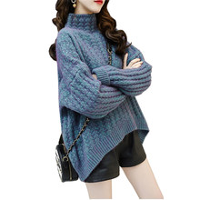 2020 Thick knit sweater women autumn winter turtleneck Large size loose pullover sweater student sweet casual tops chandail 3220(China)