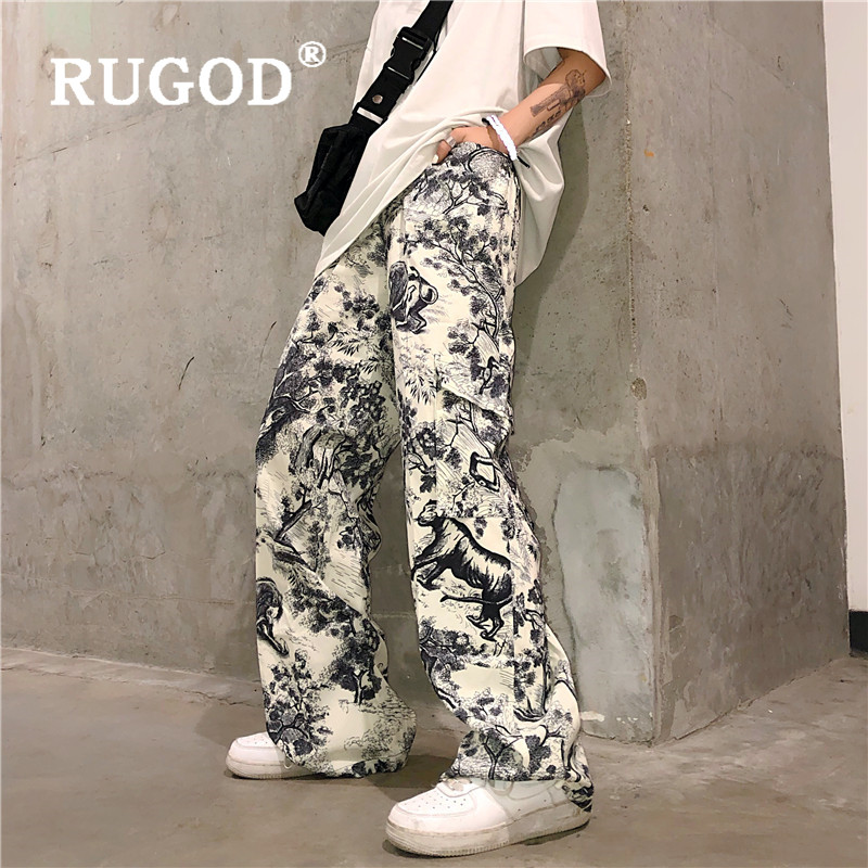 RUGOD 2019 New Autumn Women Ink Painting Straight Pants Abstract Print Cool Street Wear Wide Leg Pants Pocket Elegant Trousers
