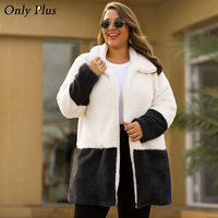 ONLY PLUS Winter Warm white Teddy Long Coats Cardigan Casual Women Woolen Coat Blends Full Overcoat plus size female