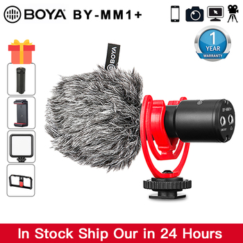 BOYA BY-MM1+ Video Record Microphone for DSLR Camera Smartphones iPhone Android canon nikon Osmo Pocket Youtube Vlogging Mic boya by m1 m1dm by mm1 dual omni directional lavalier microphone short gun video mic for canon nikon iphone smartphones camera