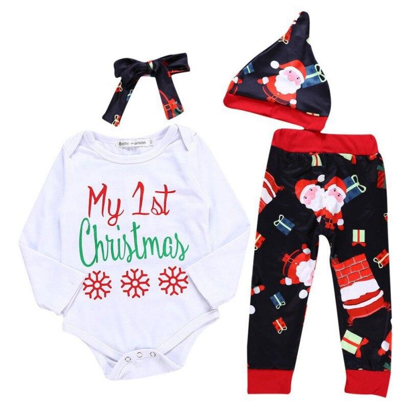 Ropa de bebé niña niño trajes de Navidad conjuntos de algodón infantil de manga larga con estampado de letras pantalones de diadema sombreros Mono sin mangas para niño recién nacido, sin mangas, con motivos florales, ropa para niña bebé