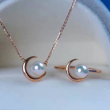 Moon Shape HOT 925 Sterling Silver Necklace and Ring Set Base Mountings Findings Jewelry Set Parts Fittings for Pearls Beads
