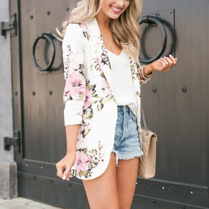 Blazer Woman 2019 Suit Top Office Elegant Blazer Floral spring Jackets Long Sleeve Blazer Notched Collar Coat Feminino Cardigan