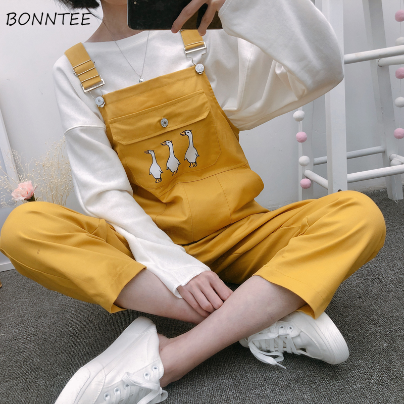 Jumpsuits Women Chic Strap Ankle-Length Harajuku Sweet Trendy Womens Pockets Students Kawaii Cartoon Printed Straight Girls Cute