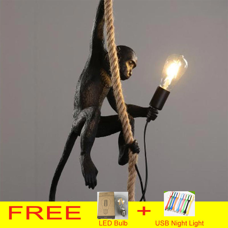 Resin Gold Black Monkey Chandelier Lighting Resin Loft Hemp Rope Pendant Lamp Luminaires Bar Cafe Includes E27 Light Fixtures