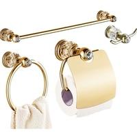 Shiny Gold Crystal Wall Mount Brass Towel Paper Holder Bathroom Hardware Set Silver Robe Hook Towel Bar Bathroom Accessories