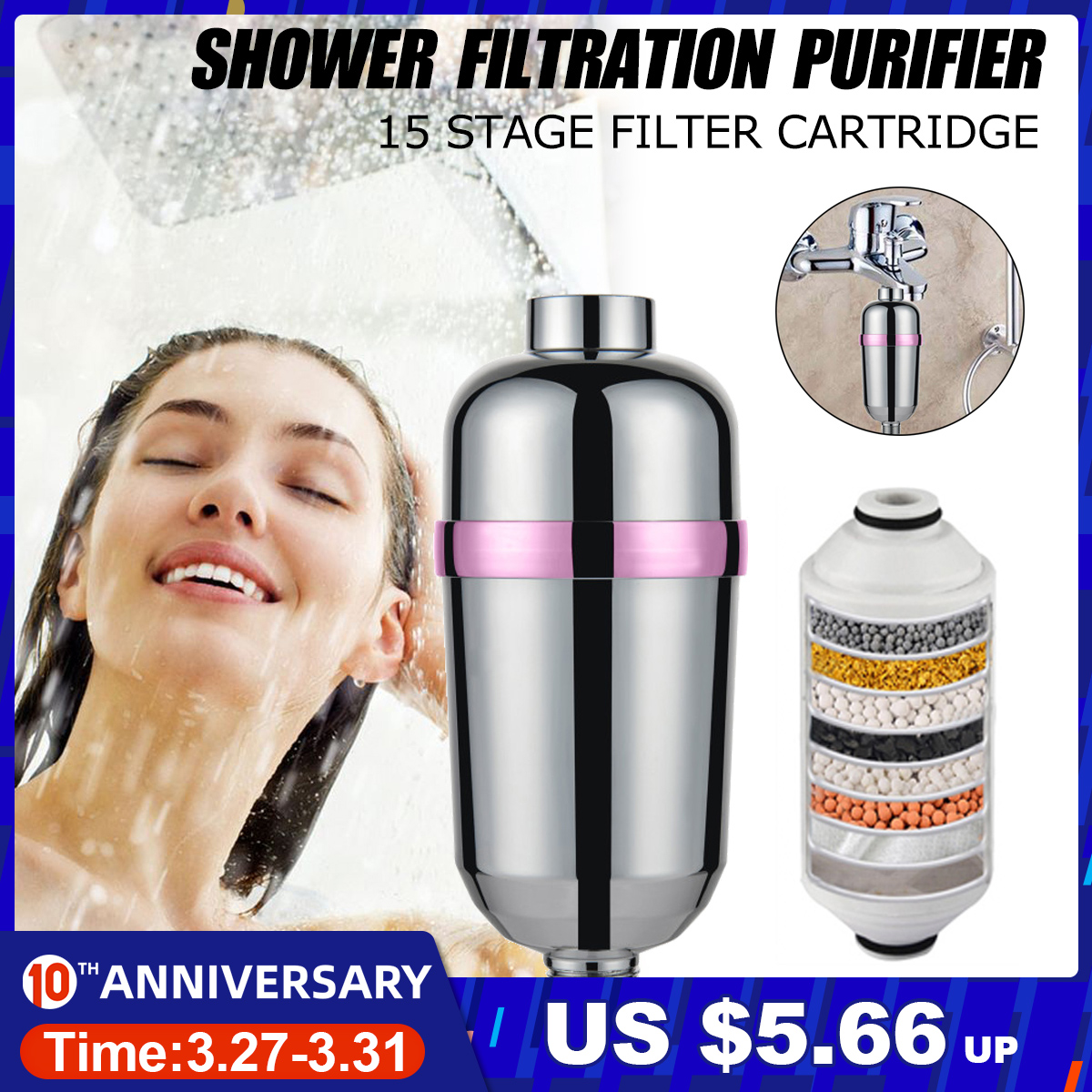 15  Bathroom Shower Filter Bathing Water Filter Purifier Water Treatment Health Softener Chlorine Removal Water Purifier