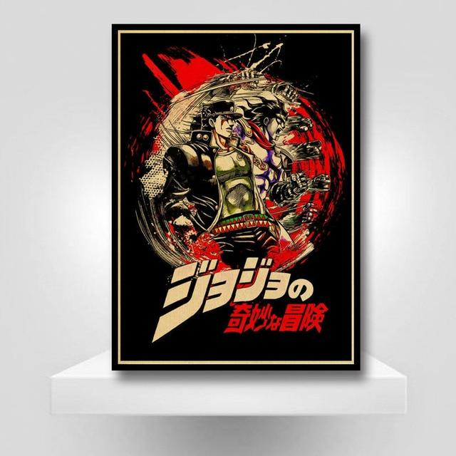 Classic Anime JoJo's Bizarre Adventure Poster Retro JOJO Anime Poster Wall Art Painting for Living Room Bar Cafe Decor 2