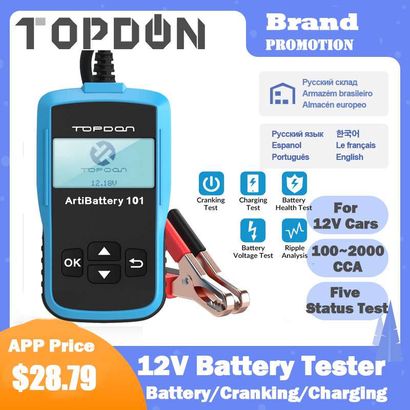TOPDON nbsp AB101 Battery Tester 12V Smart Auto Digital Battery Tester Diagnostic 100 to 2000CCA Cranking Charging Battery Analyzer