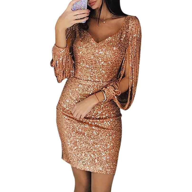 Yüksek kalite seksi katı payetli dikiş parlayan kulüp kılıf uzun kollu Mini elbise kadınlar Vestidos De Fiesta elbise Femme 2019