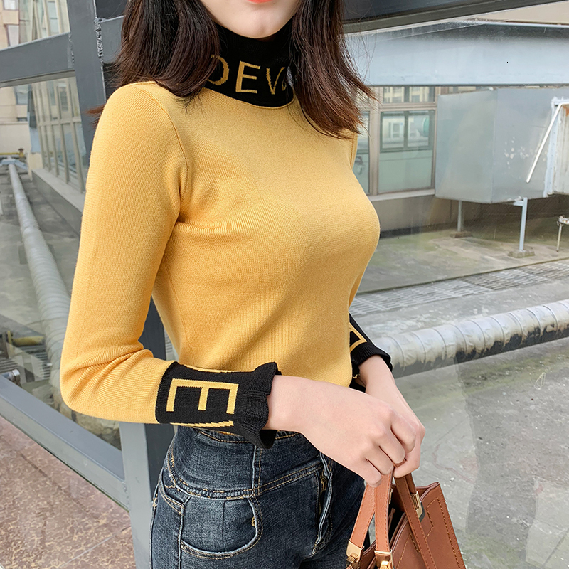 Coltrui Ruches Women Trui High Elastic Solid 2019 Fall Winter Fashion Trui Women Women Women Women Women Women Women's Sweaters