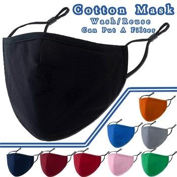 Máscara Unisex de algodón para adultos, reutilizable, lavable, reutilizable, de Color sólido...