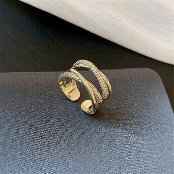 Anillos anchos de varias capas para mujer, joyería coreana, anillo abierto Ajustable, bisutería 2020