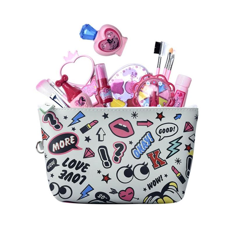Girls  Make Up Set Toys Pretent To Play Simulation Eyeshadow Make Up Brushes Mirror Cosmetic Bag Plastic Makeup Toy Children